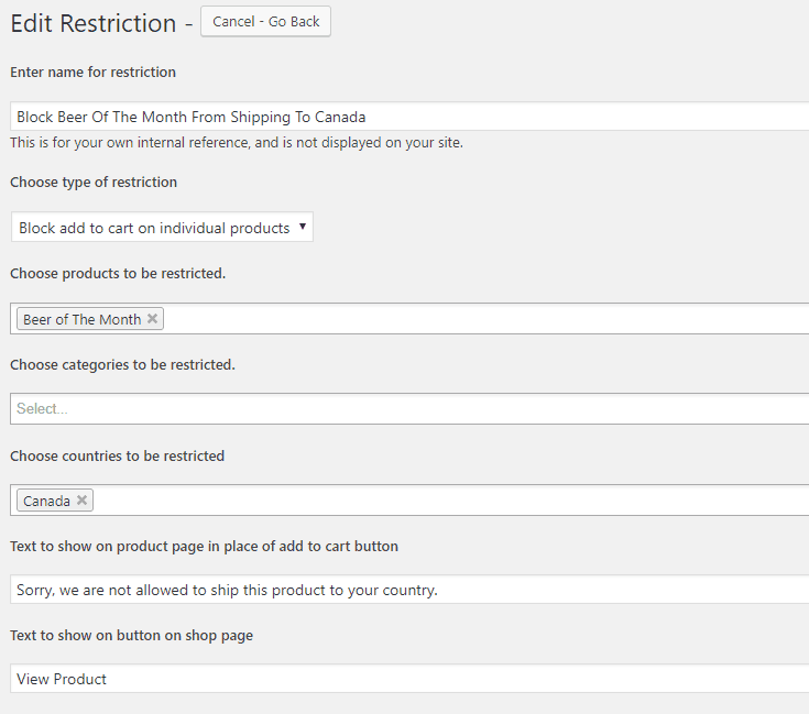 WooCommerce Restrict By Country Settings
