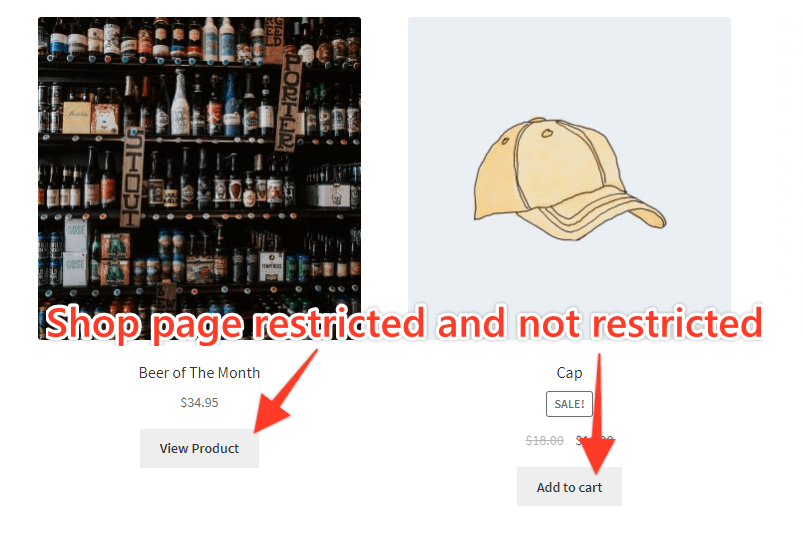 Shop Page Restricted and Not Restricted Products